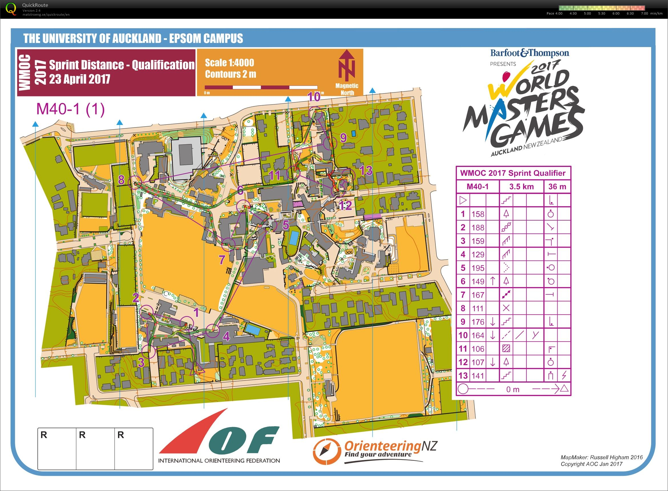 2017 World Masters Orienteering Champs - Sprint Qualification map 1 (23/04/2017)