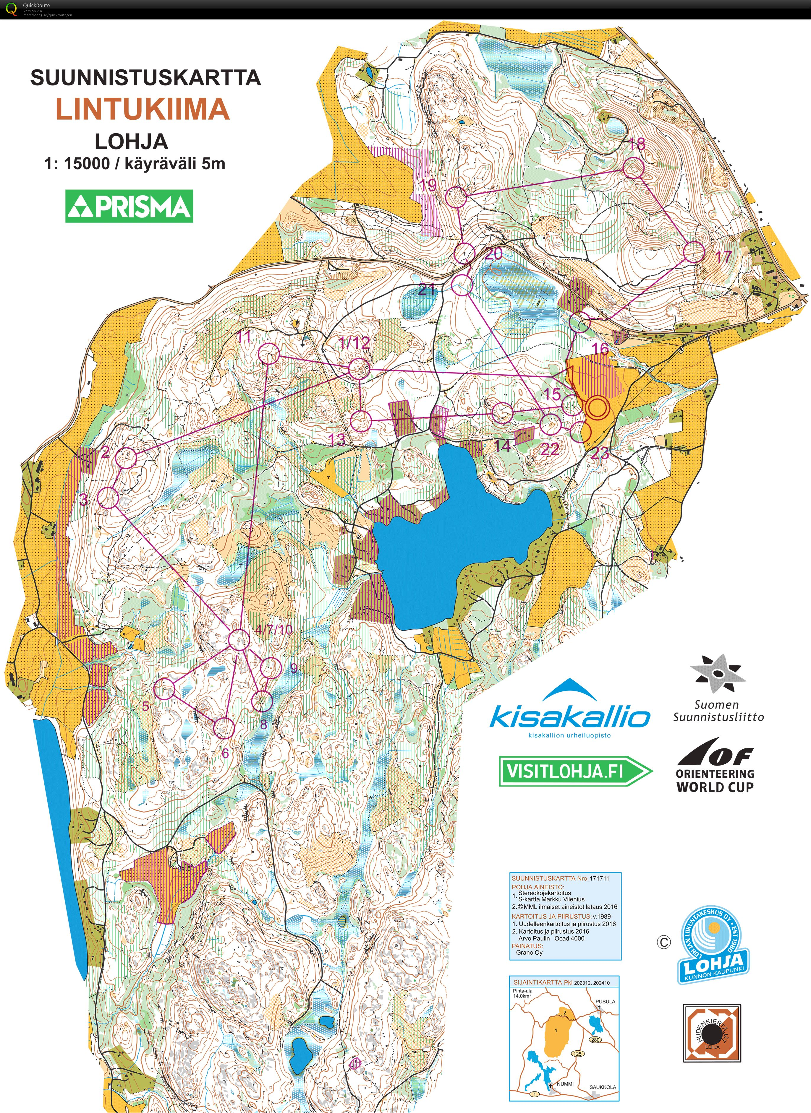 World cup long chasing start May 28th 2017 Orienteering Map from