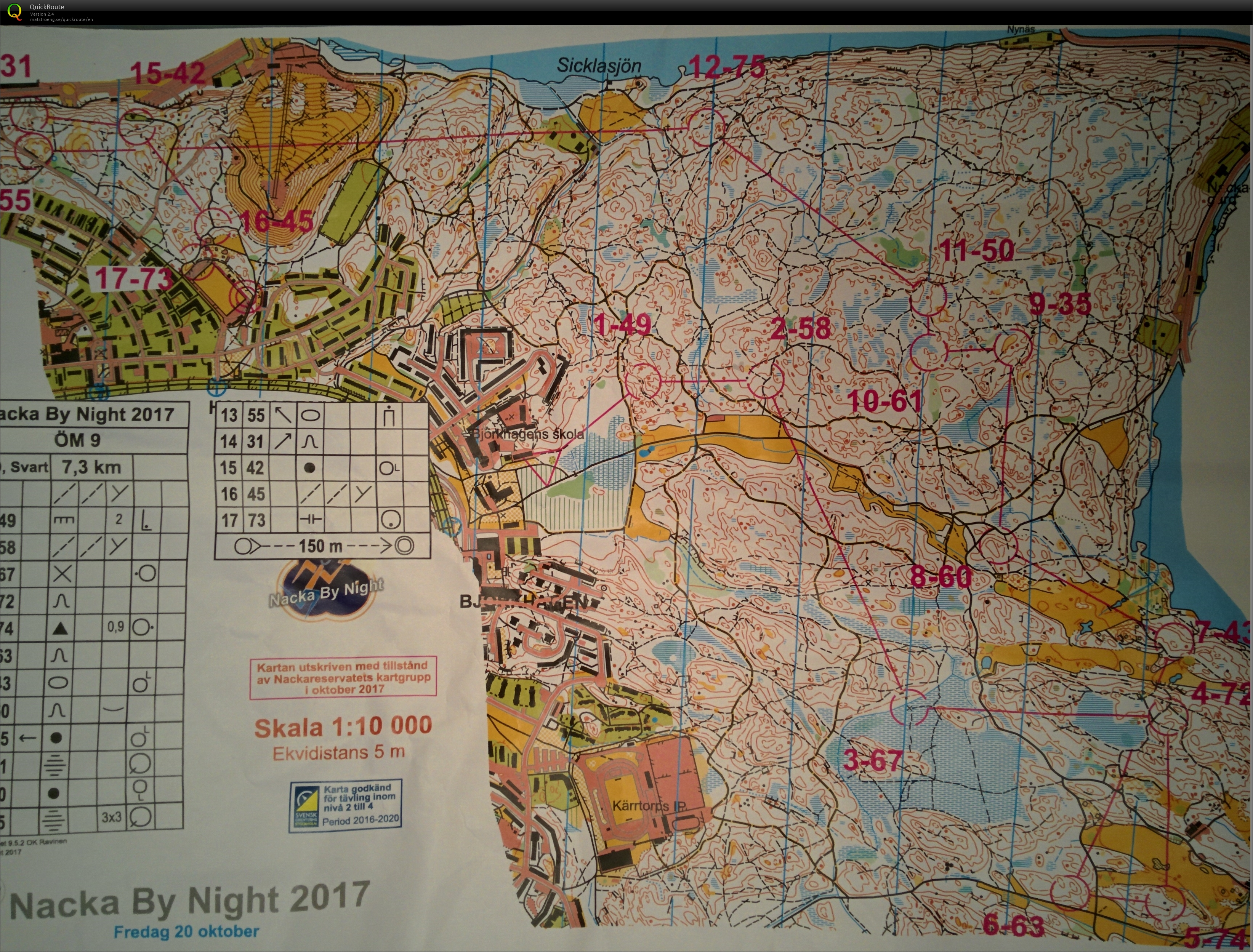 Nacka by night october 21st 2017 orienteering map from bryan keely view map without route freerunsca Image collections